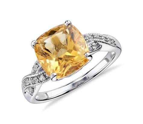 Citrine Rings by Citrine And White Sapphire Ring In Sterling Silver 9x9mm