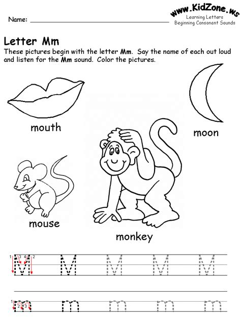 preschool coloring pages letter m free learning letters worksheet education pinterest