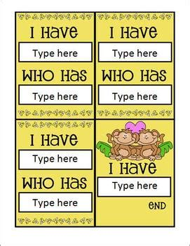 template for i who has cards i who has card template with a monkey theme by mrs