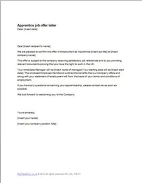 Employment Offer Letter Uk Apprentice Offer Letter Template Exle Redtapedoc