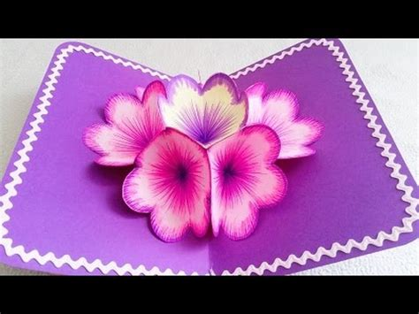 How To Make Pop Up Flowers Card In Paper - diy 3d flower pop up card