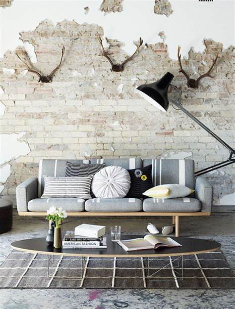 brick wall living room by ozana distressed brick walls
