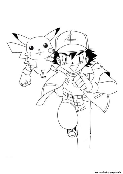 pokemon ash and pikachu sd5a0 coloring pages printable
