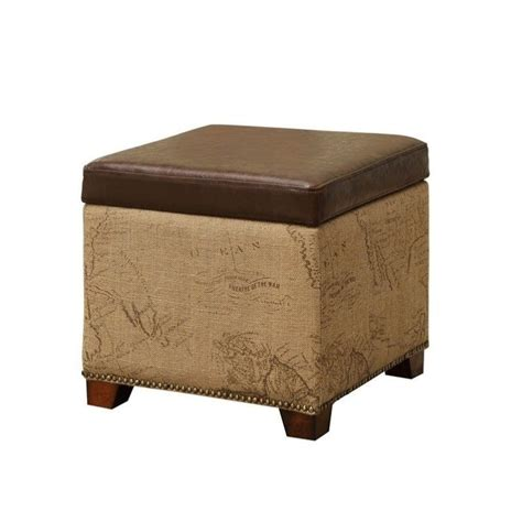 vintage brown leather ottoman armen living antique vintage leather storage ottoman in