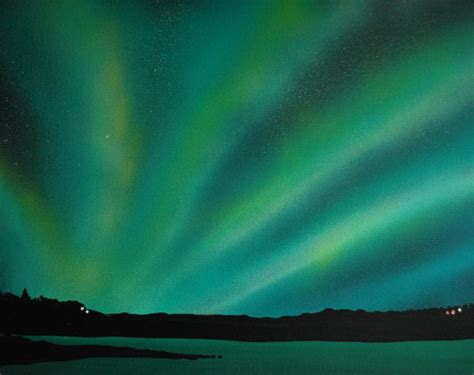 acrylic painting northern lights northern lights cabin 3 painting by dc decker