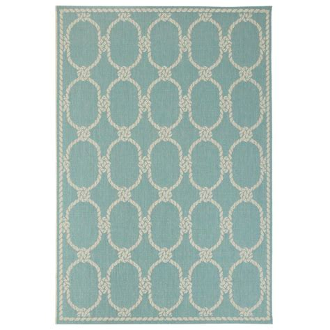 Home Decorators Collection Shore Teal 2 Ft X 3 Ft 7 In Teal Indoor Outdoor Rug