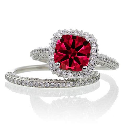 2 5 carat cushion cut designer ruby and halo