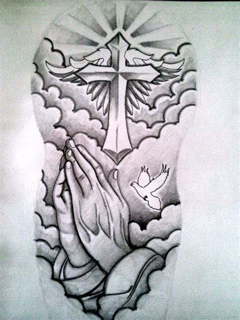 cross and hands tattoo grey ink cross and praying half sleeve design