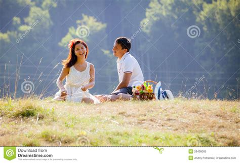 12 Families And Couples Celebrating The 4th by Celebrating Together At Picnic Royalty Free Stock
