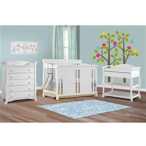 White Crib And Changing Table Set Storkcraft 3 Nursery Set Verona Convertible Crib Aspen Changing Table And Avalon 5