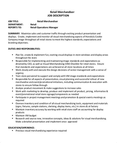 sle merchandiser job description 10 exles in word
