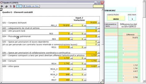 dati unico lavoro elementi contabili studi di settore professionisti quadro g