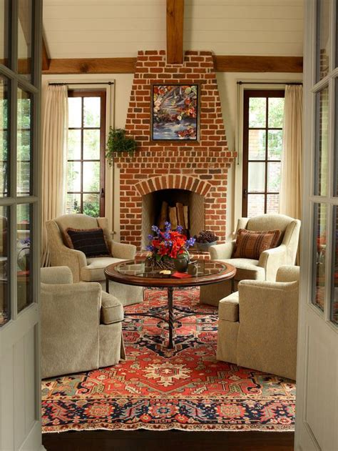 bright brick living room fireplace hgtv