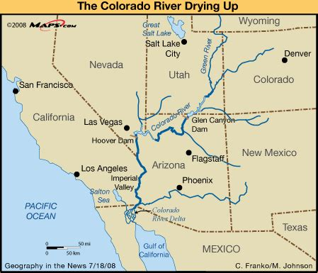 where does the colorado river start and end river map dams in southwestern us