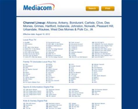 mediacom channel lineup mediacom