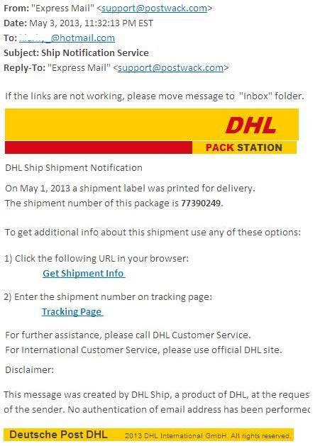 ship email beware of quot dhl ship notification service quot virus emails