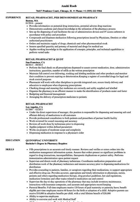 Retail Pharmacist Resume by Retail Pharmacist Resume Sles Velvet