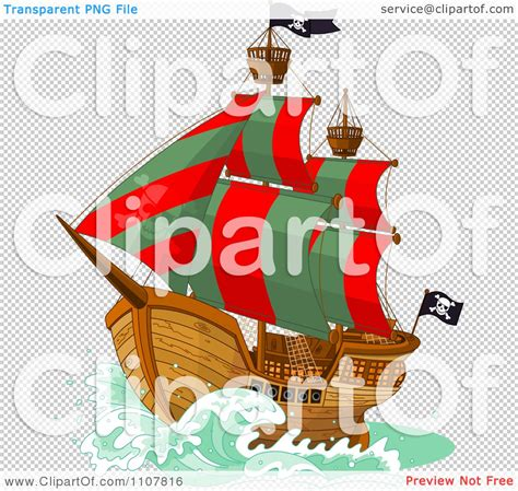 the green ship red clipart pirate ship with red and green sails and jolly roger flags royalty free vector