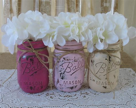 Jar Baby Shower Decorations by Sale 3 Pint Jars Painted Jars Wedding