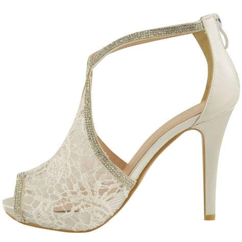 Wedding Shoes Womens by Womens Wedding Shoes High Heels Lace Diamante