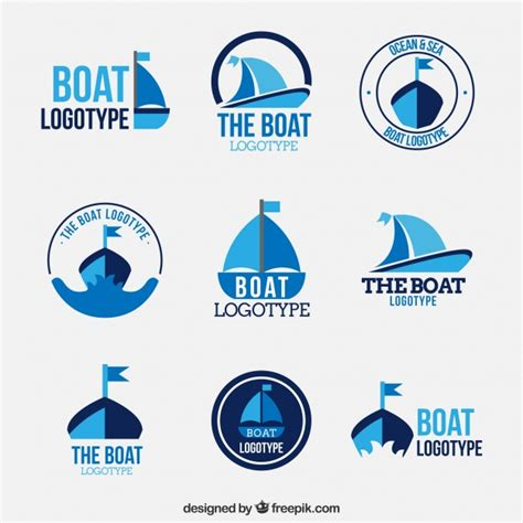 boat show logo collection of boat logos in flat design vector free download