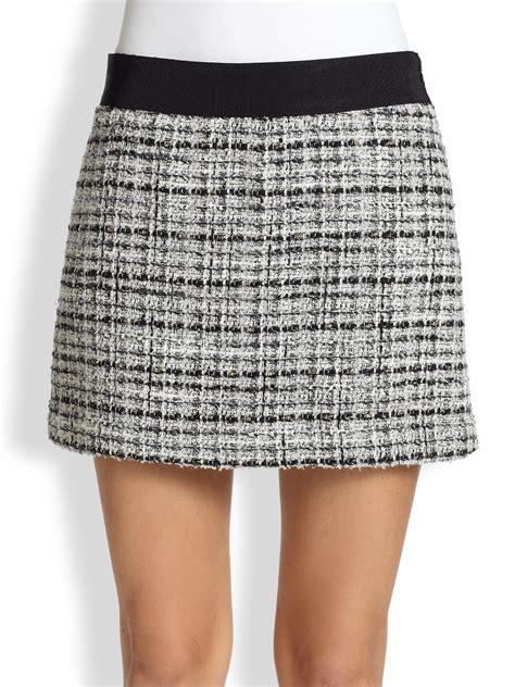 milly tweed mini skirt in black lyst
