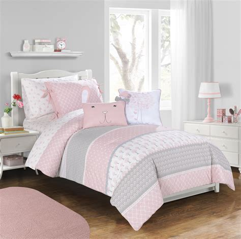 gray and pink comforter heartwood forest girls bedding collection by frank lulu