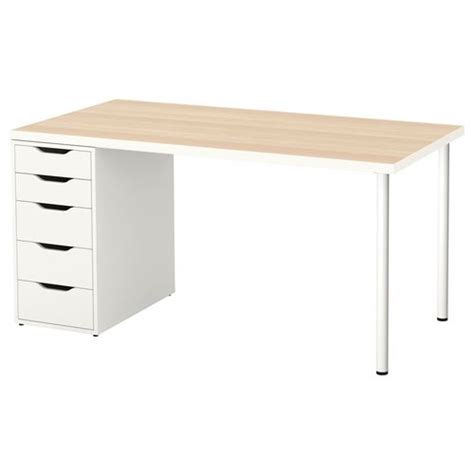 linnmon alex desk white stained oak effect white 150x75 cm