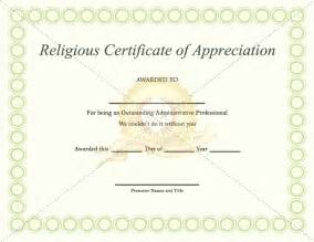 religious certificate of appreciation template religious appreciation certificate template certificate