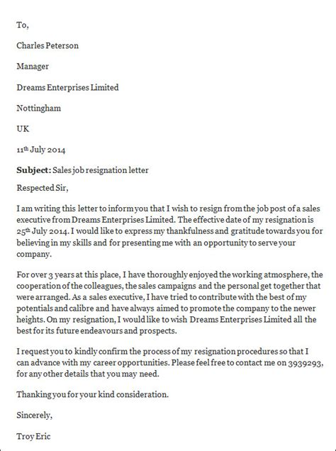 Employment Resignation Letter Format Sle Resignation Letter 14 Free Documents In Word Pdf