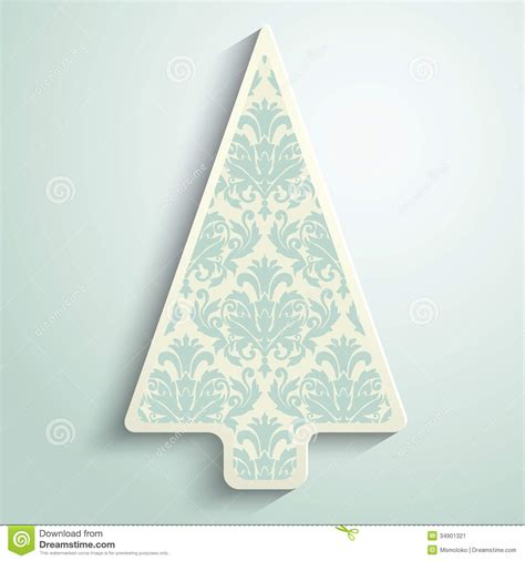 paper christmas tree patterns template paper tree with damask pattern stock vector image 34901321
