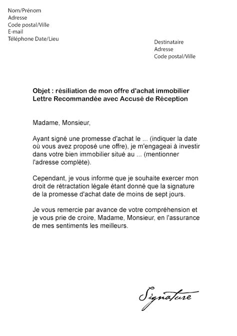 exemple lettre resiliation appartement