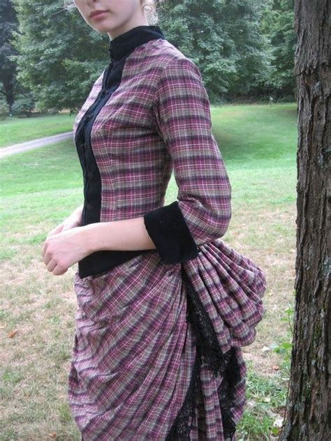 30950 Cotton Dress Black Size Sml bustle day dress in cotton plaid with black velvet trim size sml day