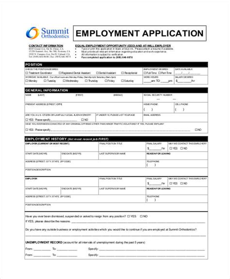 33 Job Application Templates Free Premium Templates Dental Assistant Application Template
