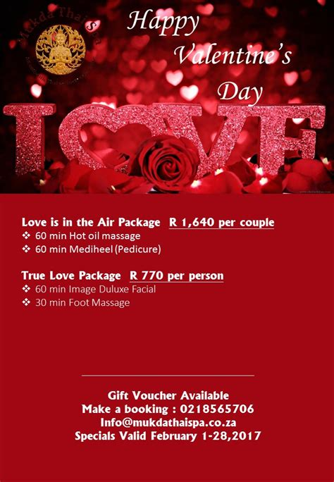 valentines spa specials specials mukda thai spa