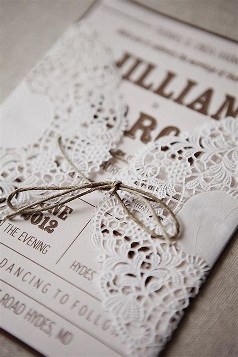 rustic wedding handmade diy lace wedding invitation