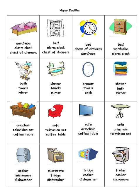 bedroom objects in french 271 free house flat rooms worksheets