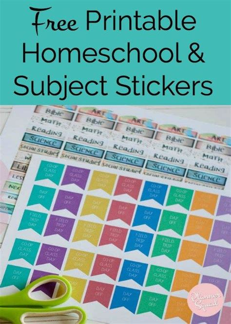 homeschool subject planner printable these free printable homeschool subject stickers are a