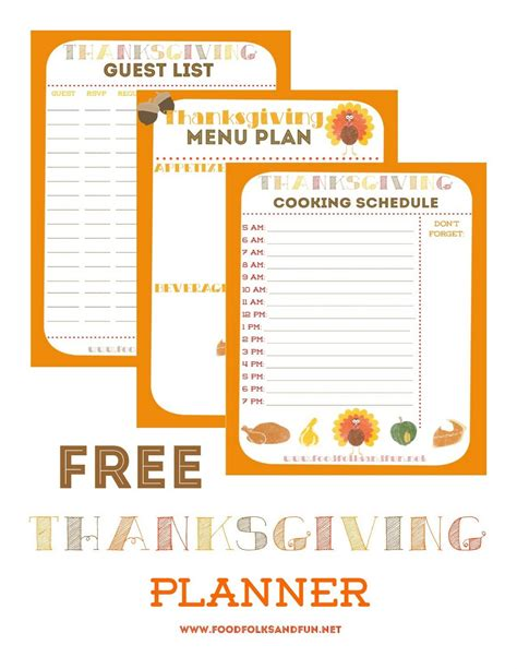 thanksgiving planner 5 free printables food folks