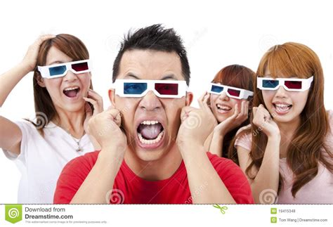 Surprised Young People In 3D Glasses Royalty Free Stock Photos   Image: 19415348