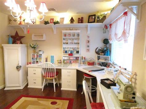 wall for sewing room craft and sewing room like the uplit shelf around the top of the walls and the chandelier