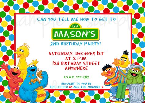 sesame invitation template sesame birthday invitation sesame invitation