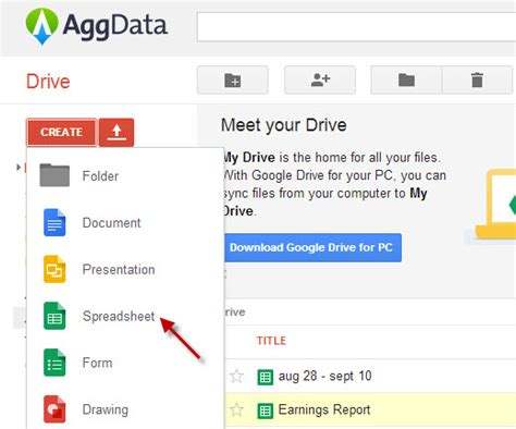 Create Spreadsheet In Drive by How To Use Aggdata To Create Spreadsheets On Drive Aggdata