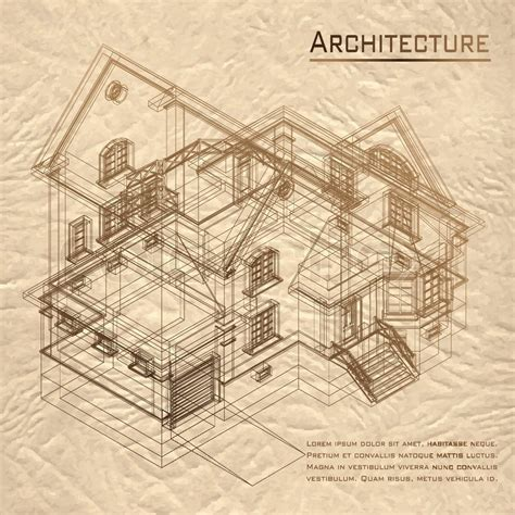 Construction Drawing Paper Vintage Architectural Background Part Of Architectural