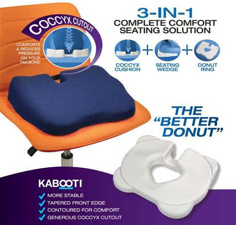 Best Donut Pillow For Tailbone by Kabooti Orthopedic Coccyx Seat Cushion