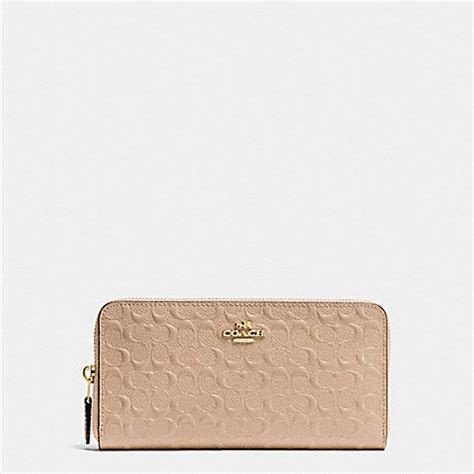 coach f54805 accordion zip wallet in signature debossed patent leather imitation gold