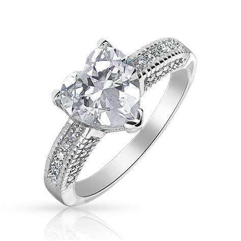 sterling silver shaped cz engagement ring