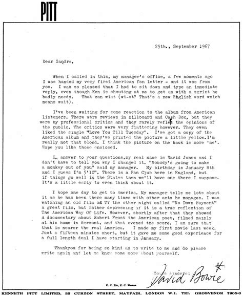 where do sts go on a letter david bowie s letter to sandra adams 1967
