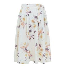 Tie Waist Floral Print Midi Skirt s clothing dresses tops skirts new look