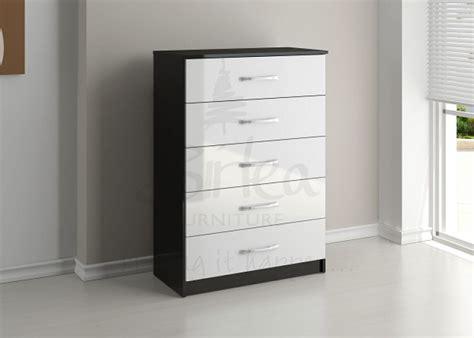 birlea lynx black  white gloss  drawer chest